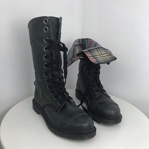 DR MARTENS Triumph tall lace boots flip cuff plaid
